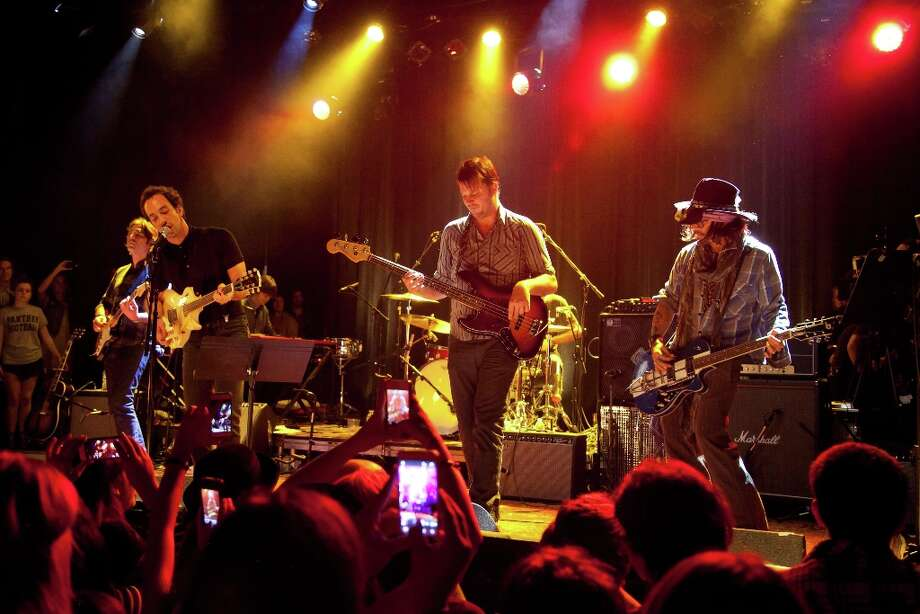 (L-R) Musician Albert Hammond, Jr. of The Strokes, Co-founder of The Best Fest Austin Scaggs, and actor Johnny Depp perform onstage at the first ever Jameson Petty Fest West at El Rey Theatre on November 14, 2012 in Los Angeles, California.  (Photo by Imeh Akpanudosen/Getty Images For Jameson) Photo: Imeh Akpanudosen, Getty Images For Jameson / 2012 Getty Images
