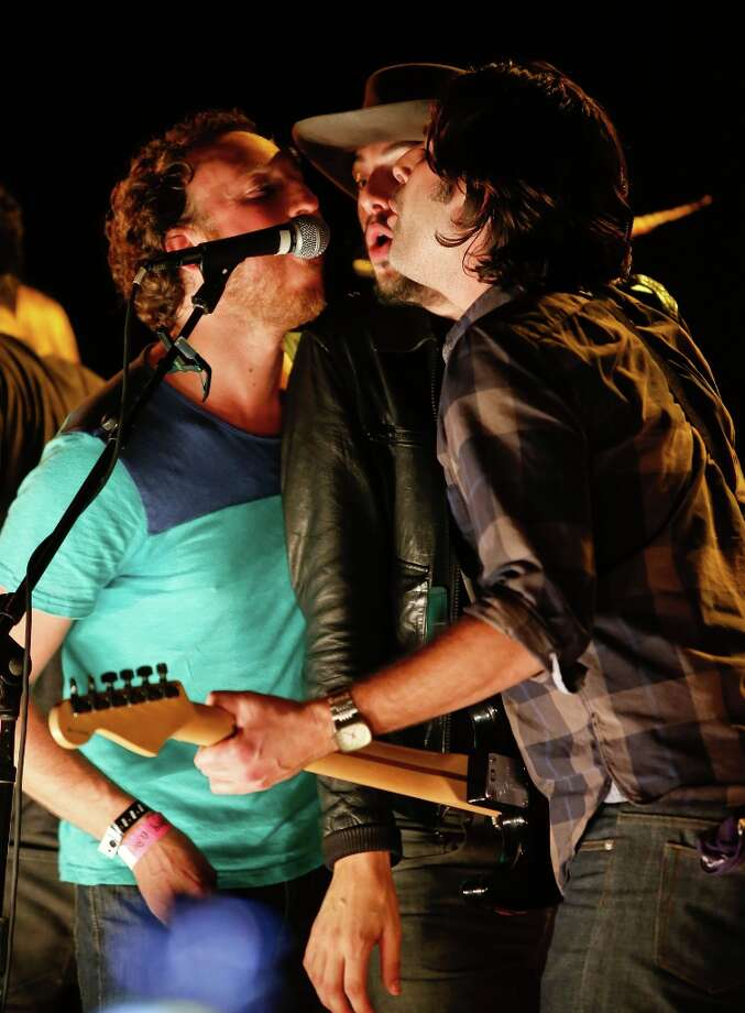 (L-R) Ryan Miller of Guster, musician Cory Chisel of Cory Chisel and The Wandering Sons, and Co-founder of The Best Fest Alex Levy perform onstage at the first ever Jameson Petty Fest West at El Rey Theatre on November 14, 2012 in Los Angeles, California.  (Photo by Imeh Akpanudosen/Getty Images For Jameson) Photo: Imeh Akpanudosen, Getty Images For Jameson / 2012 Getty Images