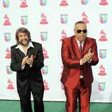 Musicians Eddy Navia (L) and Chuchito Valdes arrive at the 13th annual Latin GRAMMY Awards held at the Mandalay Bay Events Center on November 15, 2012 in Las Vegas, Nevada.
