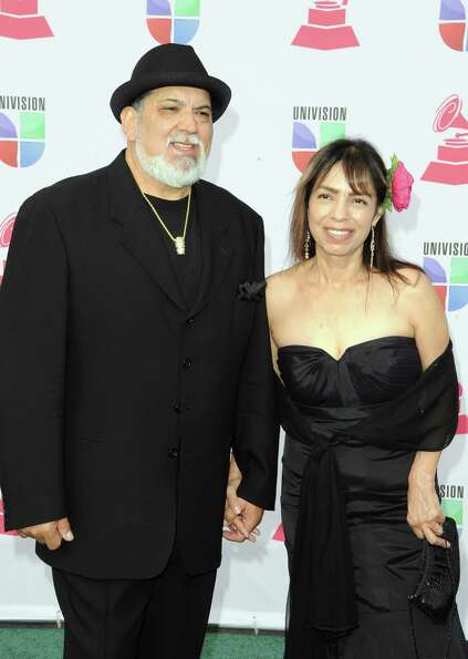 Recording artist Poncho Sanchez (L) and his wife Stella Sanchez arrive at the 13th annual Latin GRAM