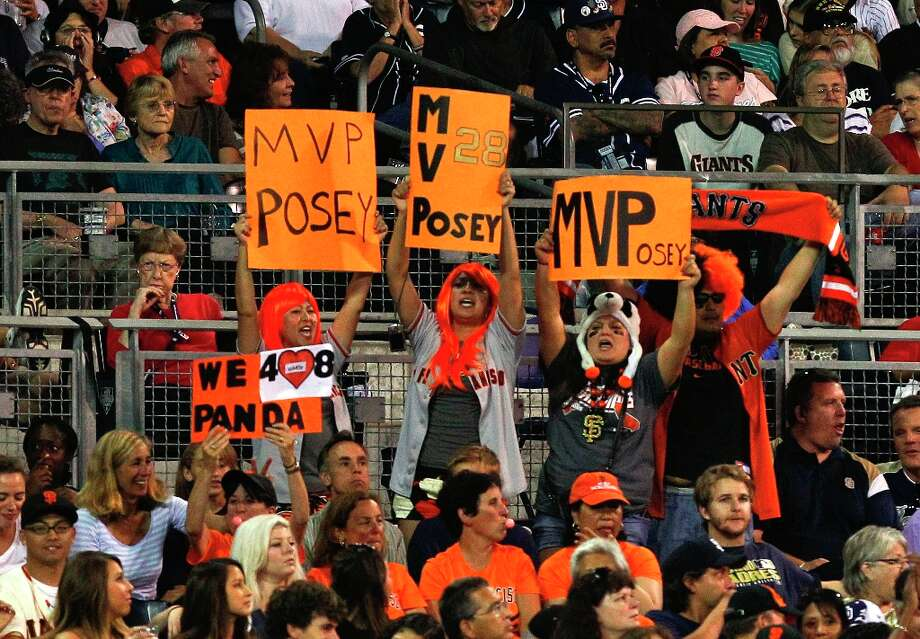 San Francisco Giants fans show their support for Buster Posey during the Giants' baseball game against the San Diego Padres on Saturday, Sept. 29, 2012, in San Diego. Photo: Lenny Ignelzi, Associated Press / AP