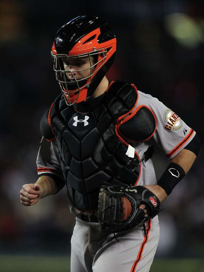 San Francisco Giants catcher Buster Posey works the 9th inning in game three of the World Series with the Detroit Tigers  at Comerica Park in Detroit, Mi., on Saturday, Oct. 27, 2012. Giants won 2-0 Photo: Lance Iversen, The Chronicle / ONLINE_YES