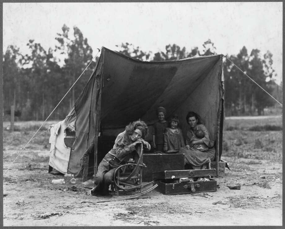 FSA photographer Dorothea Lange came across Florence Thompson and her children in a pea pickers' camp in Nipomo, California, in March 1936.  During the decade of Great Depression, California's population grew by more than 20 percent, an increase of 1.3 million people. More than half of the newcomers came from cities, not farms; one in six were professionals or white collar workers. Of the 315,000 who arrived from Oklahoma, Texas, and neighboring states, only 16,000 were from the Dust Bowl itself. But regardless of where they actually came from, regardless of their skills and their education and their individual reasons for seeking a new life in a new place, to most Californians - and to the nation at large - they were all the same. And they all had the same name: Okies. Photo: Dorothea Lange, Handout / ONLINE_YES