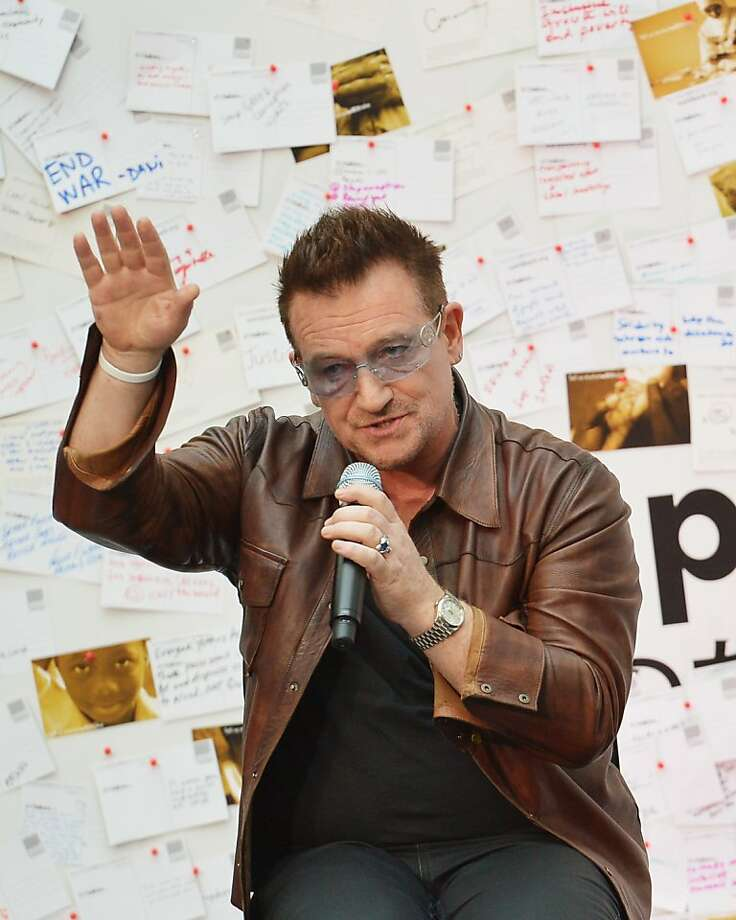 Bono, at a World Bank gathering in Washington, D.C., speaks at a discussion on ending poverty. Photo: Mandel Ngan, AFP/Getty Images