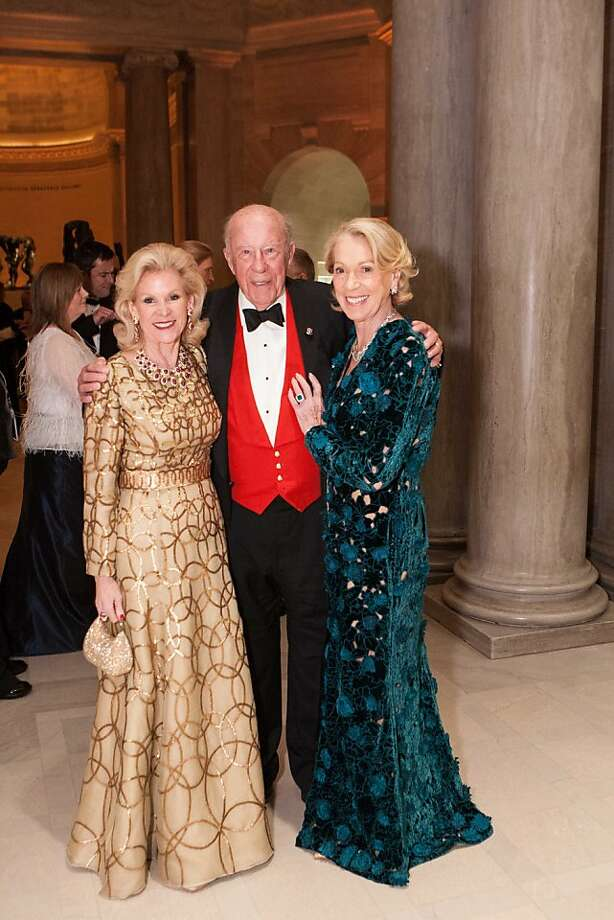 Dede Wilsey (left) is seen with former Secretary of State George Shultz, and his wife, San Francisco Protocol Chief Charlotte Shultz. Photo: Drew Altizer Photography, Heather Wiley For Drew Altizer P