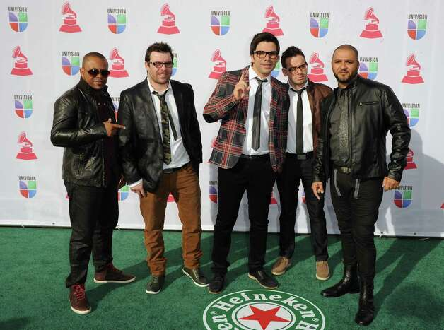 (L-R) Musicians Eduardo Victorino, Leandro Rodrigues, Paulo Baruk, JR Sanchez and Alexandre Mariano of Paulo Baruk and the Band Salluz arrive at the 13th annual Latin GRAMMY Awards held at the Mandalay Bay Events Center on November 15, 2012 in Las Vegas, Nevada. Photo: Jason Merritt, Getty Images / 2012 Getty Images