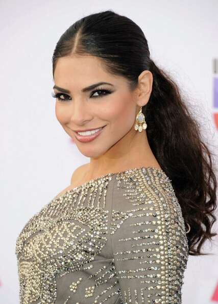 Model Alejandra Espinoza arrives at the 13th annual Latin GRAMMY Awards held at the Mandalay Bay Eve