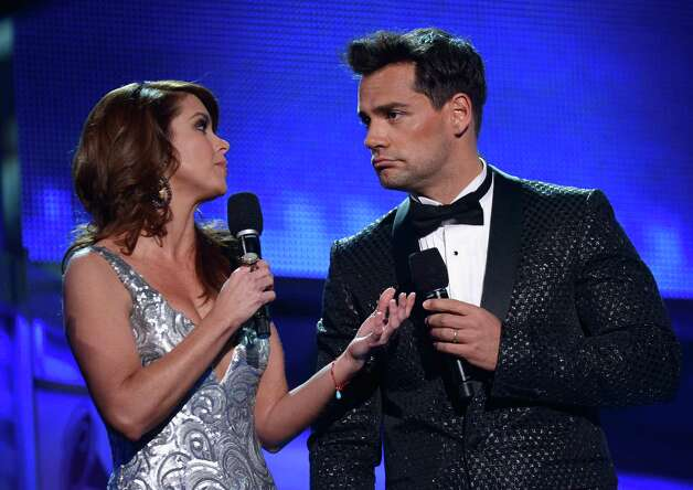 (L-R) Hosts Lucero and Cristian de la Fuente speak onstage during the 13th annual Latin GRAMMY Awards held at the Mandalay Bay Events Center on November 15, 2012 in Las Vegas, Nevada. Photo: Kevork Djansezian, Getty Images / 2012 Getty Images