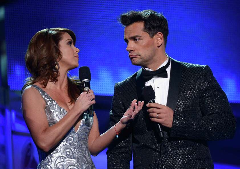(L-R) Hosts Lucero and Cristian de la Fuente speak onstage during the 13th annual Latin GRAMMY Award