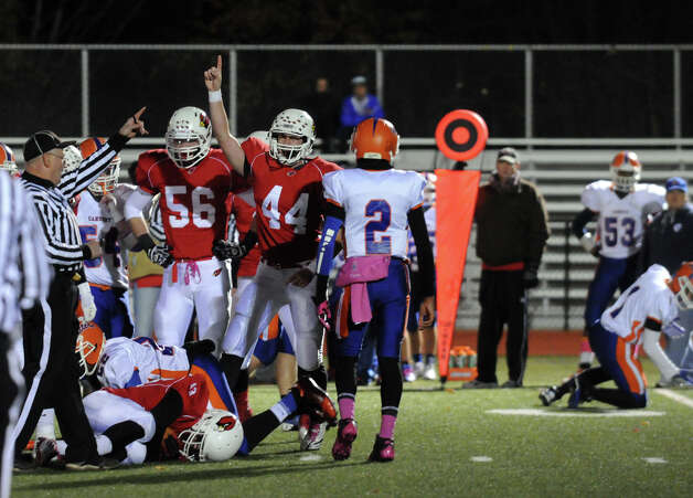 Greenwich wins the ball as Greenwich High School hosts Danbury in a football game in Greenwich, Conn., Nov. 15, 2012. Photo: Keelin Daly / Stamford Advocate Riverbend Stamford, CT