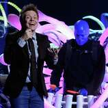 Singer Michel Telo (L) and Blue Man Group perform onstage during the 13th annual Latin GRAMMY Awards held at the Mandalay Bay Events Center on November 15, 2012 in Las Vegas, Nevada.