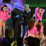 Singer Michel Telo and Blue Man Group perform onstage during the 13th annual Latin GRAMMY Awards held at the Mandalay Bay Events Center on November 15, 2012 in Las Vegas, Nevada.