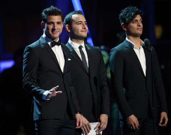 (L-R) Musicians Julio Ramirez, Jesus Alberto Navarro Rosas, and Gilberto Marin of the musical group Reik speak onstage during the 13th annual Latin GRAMMY Awards held at the Mandalay Bay Events Center on November 15, 2012 in Las Vegas, Nevada. Photo: Kevork Djansezian, Getty Images / 2012 Getty Images