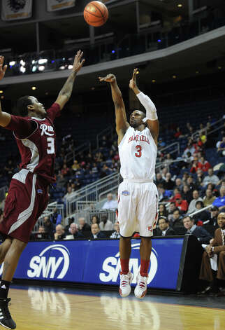 Fairfield's Derek Needham fires a jump shot during the Stags' MAAC matchup with Rider at the Webster Bank Arena in Bridgeport on Monday, January 16, 2012. Photo: Brian A. Pounds / Connecticut Post