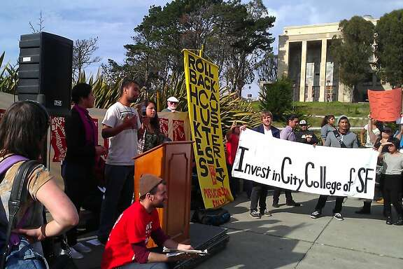 Students and faculty protested an austerity plan on November 15, 2012 on Ram Plaza at the City College of San Francisco. They said the shakeup of department chairs would threaten classes in diversity, such as classes in African American and womenÕs studies.