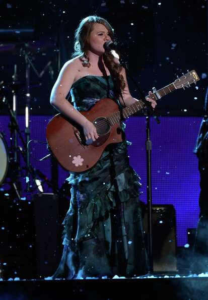Musician Joy Huerta of Jesse y Joy and La Reve perform onstage during the 13th annual Latin GRAMMY A