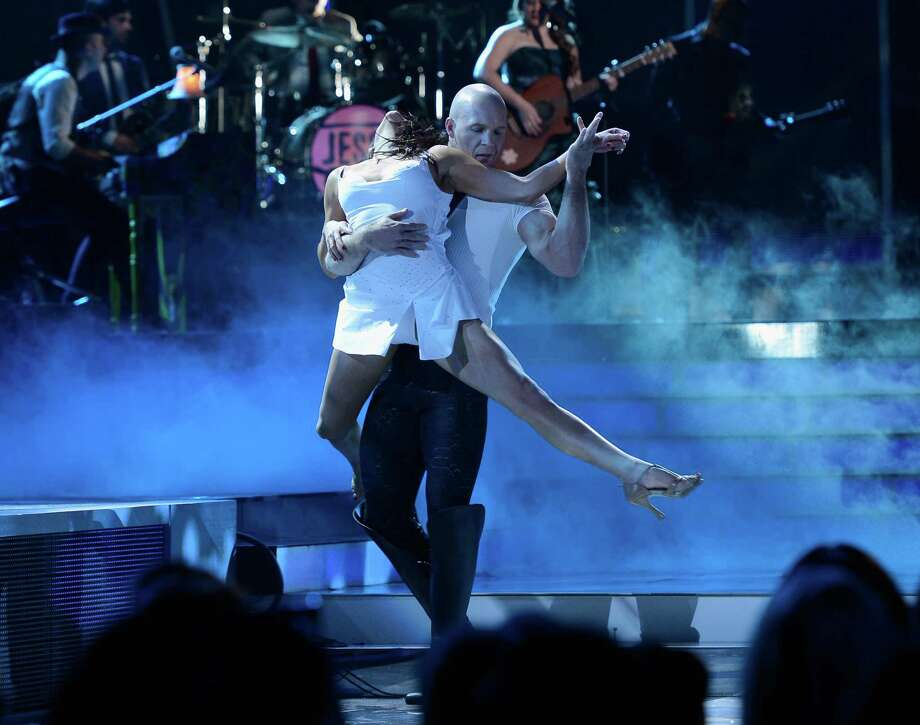 Musicians Jesse Huerta and Joy Huerta of Jesse y Joy and La Reve perform onstage during the 13th annual Latin GRAMMY Awards held at the Mandalay Bay Events Center on November 15, 2012 in Las Vegas, Nevada. Photo: Kevork Djansezian, Getty Images / 2012 Getty Images