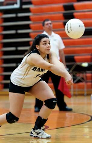 Joel Barlow high school's Andrianna Papadimitriou returns a serve in a CIAC class L semifinal girls volleyball tournament game against East Lyme high school played at Shelton high school, Shelton, CT on Thursday November 15th, 2012 Photo: Mark Conrad / Connecticut Post Freelance