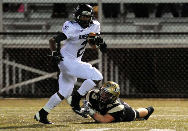 Ansonia's #2 Arkeel Newsome, during NVL football championship action action against Woodland in Waterbury, Conn. on Thursday November 14, 2012. Photo: Christian Abraham / Connecticut Post