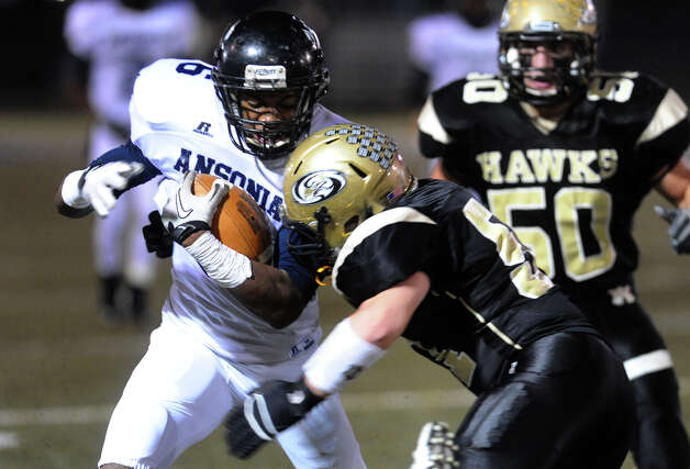 Ansonia's #6 Raeshaun Finney, during NVL football championship action action against Woodland in Waterbury, Conn. on Thursday November 14, 2012. Photo: Christian Abraham / Connecticut Post