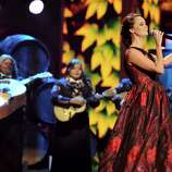 """Shaila Durcal performs """"El Dia Que Me Fui"""" at the 13th Annual Latin Grammy Awards at Mandalay Bay on Thursday, Nov. 15, 2012, in Las Vegas. (Photo by Al Powers/Powers Imagery/Invision/AP)"""