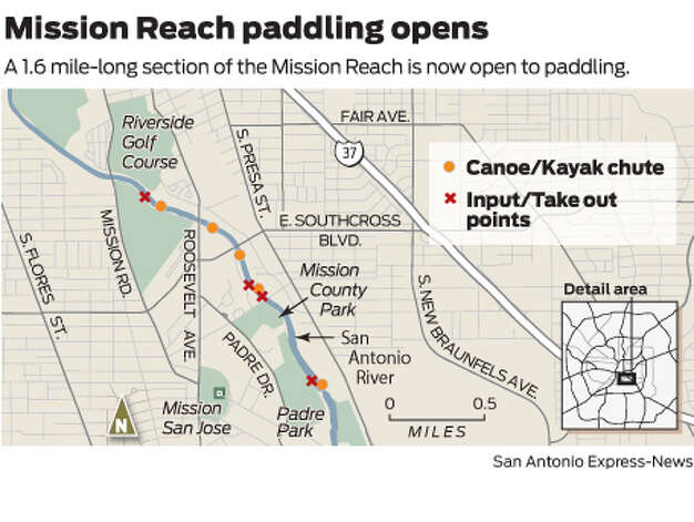 A 1.6 mile-long section of the Mission Reach is now open to paddling.  Photo: Mike Fisher