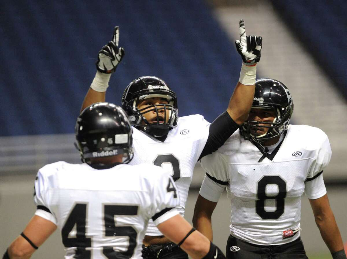 Jordan Sterns of Steele celebrates after returning a punt for a touchdown against Marshall during Class 5A Division II bidistrict playoff action at the Alamodome on Thursday, Nov. 15, 2012.