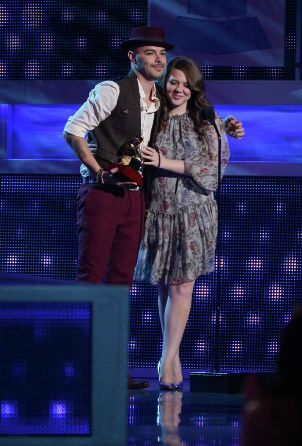(L-R) Jesse Huerta and Joy Huerta of Jesse y Joy accept the award for Best Contemporary Pop Vocal Album onstage during the 13th annual Latin GRAMMY Awards held at the Mandalay Bay Events Center on November 15, 2012 in Las Vegas, Nevada. Photo: Kevork Djansezian, Getty Images / 2012 Getty Images