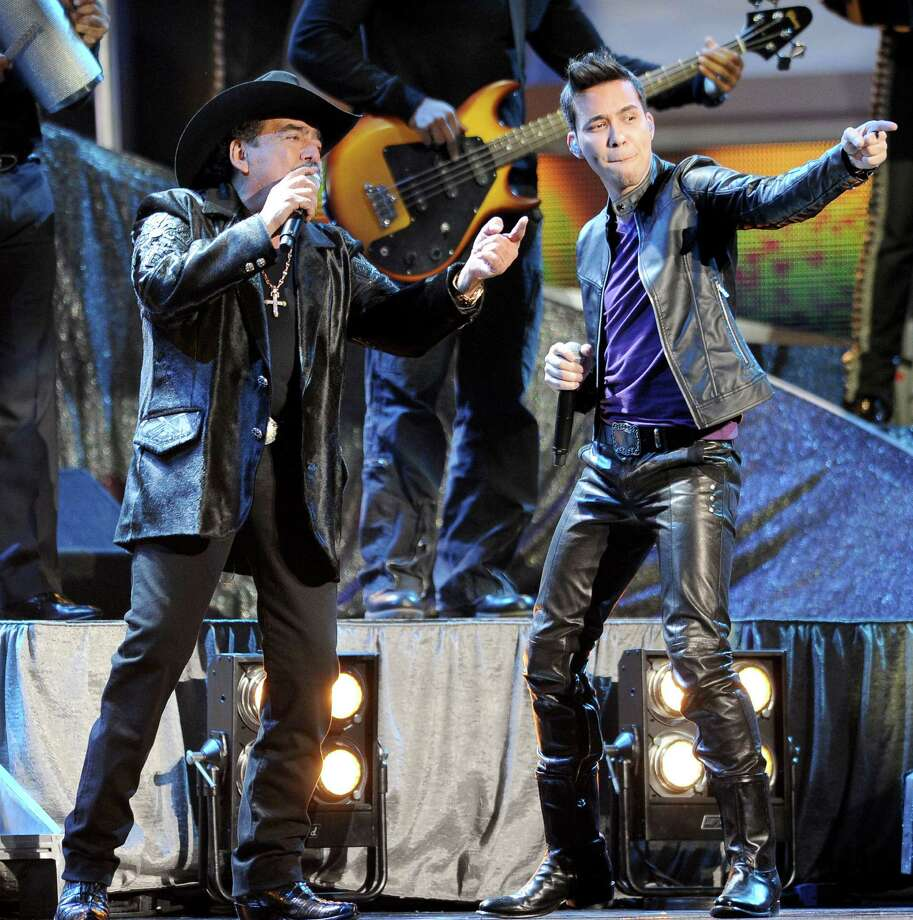 "Prince Royce, right, and Joan Sebastian perform ""Incondicional"" at the 13th Annual Latin Grammy Awards at Mandalay Bay on Thursday Nov. 15, 2012, in Las Vegas. (Photo by Al Powers/Powers Imagery/Invision/AP) Photo: Al Powers, Associated Press / Invision"