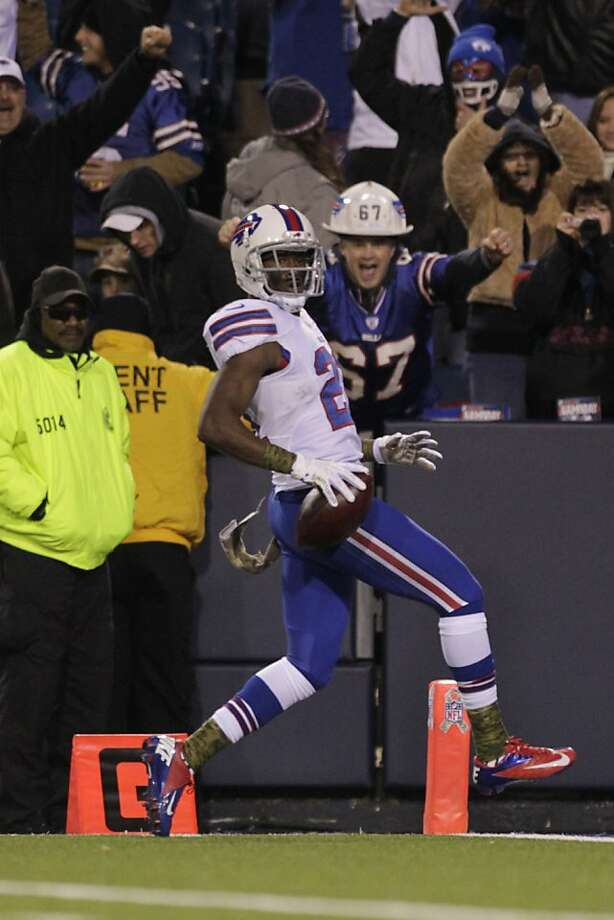 Bills punt returner Leodis McKelvin took this one 79 yards for a score. Photo: Bill Wippert, Associated Press