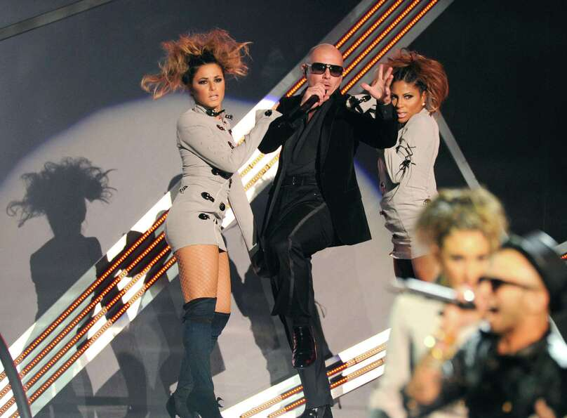 Pitbull performs onstage at the 13th Annual Latin Grammy Awards at Mandalay Bay on Thursday, Nov. 15