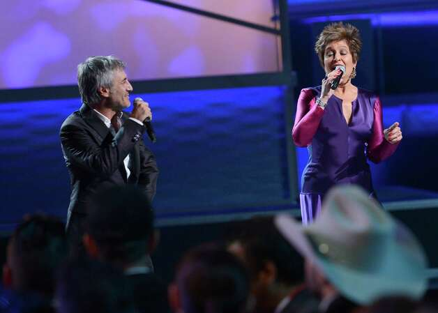 Singers Sergio Dalma (L) and Daniela Romo onstage during the 13th annual Latin GRAMMY Awards held at the Mandalay Bay Events Center on November 15, 2012 in Las Vegas, Nevada. Photo: Kevork Djansezian, Getty Images / 2012 Getty Images