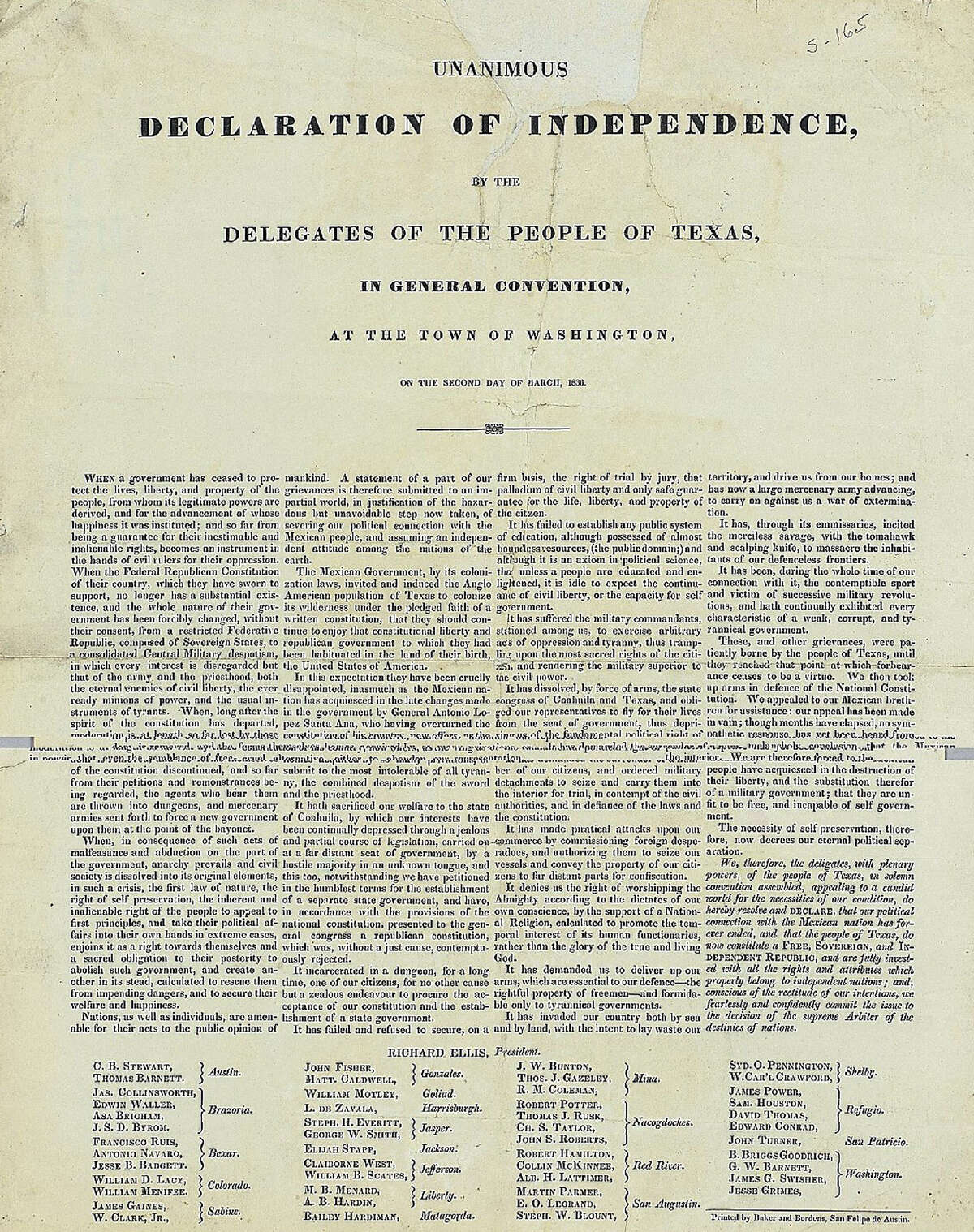 A copy of the Texas Declaration of Independence that was auctioned by Sotheby's in New York in 2004.