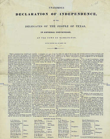 A copy of the Texas Declaration of Independence that was auctioned by Sotheby's in New York in 2004. Photo: COURTESY SOTHEBY'S