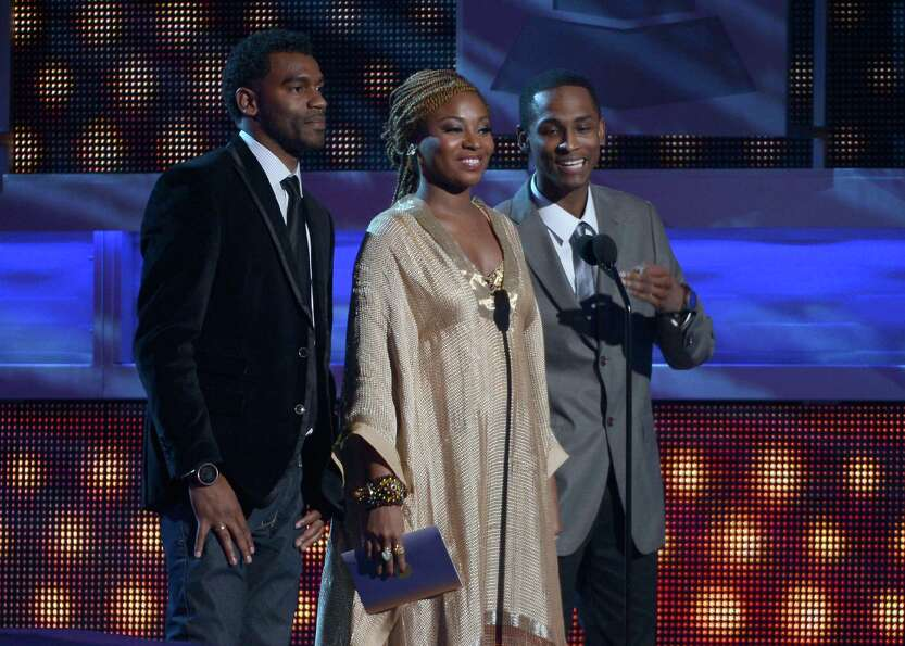 Musical group ChocQuibTown speak onstage during the 13th annual Latin GRAMMY Awards held at the Ma