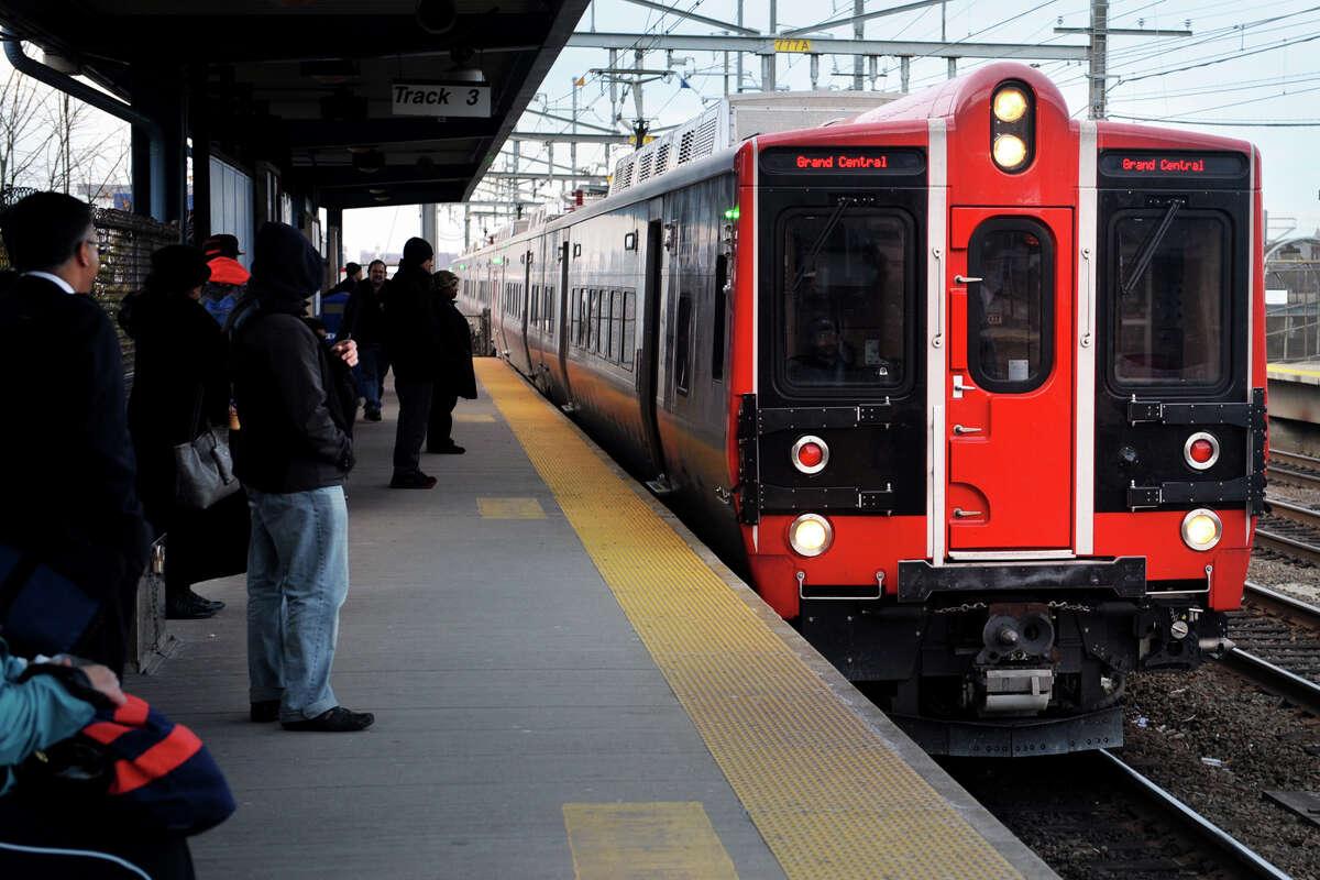 A Grand Central bound M-8 Metro North train stops in Bridgeport, Conn. Nov. 15th, 2012.