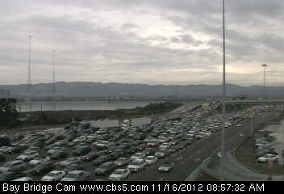 Traffic backed up at the MacArthur Maze in the East Bay. Photo: CBS San Francisco