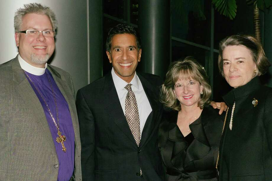 Bishop Andy Doyle, from left, Dr. Sanjay Gupta, Dr. Patricia Bray and chair Flo McGee at  St. Luke's Episcopal Health Charities' 15th Anniversary Crystal Celebration Photo: Lynn Lane / Lynn Lane