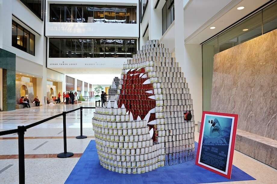 "Jaws V: Feeding Frenzy (Bull Stockwell Allen, Dome Construction): ""In the spirit of the Cannes film festival, ""Jaw V: Feeding Frenzy"" continues the legacy of the original horror film based on the terrifying No. 1 best seller novel by Peter Benchley, but with a new, more philanthropic twist. The deadly great white shark resurfaces near the California coast as a melange of sweet peas, mixed vegetables, beans and broth (which could be combined to make a very special ratatouille)."""