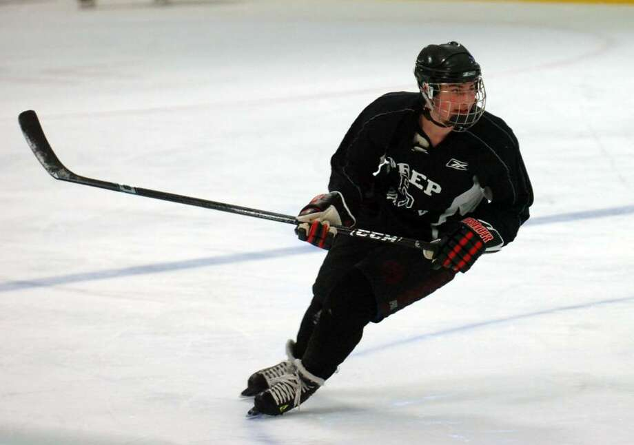 Fairfield Prep senior defenceman and captain Jackson Bargiello during practice at the Wonderland of Ice, in Bridgeport, Conn. Dec. 14th, 2009. Photo: Ned Gerard / Connecticut Post