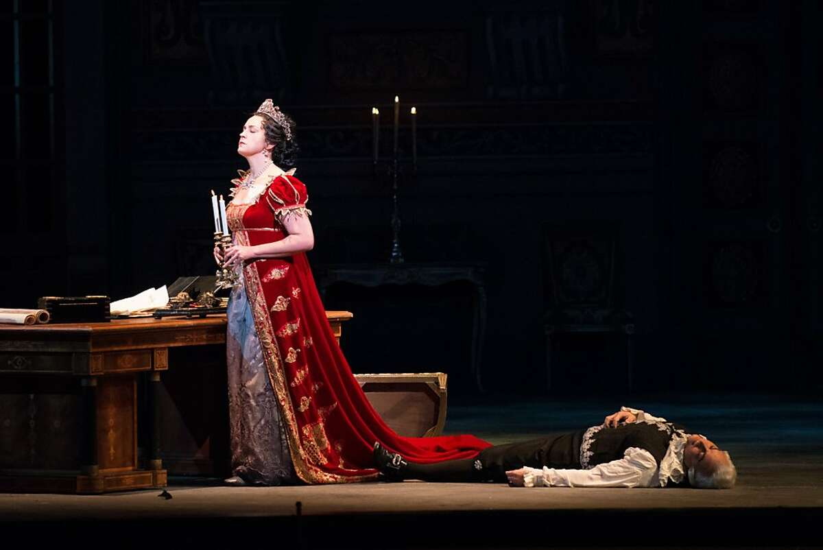 Soprano Melody Moore in the title role of Puccini's Tosca at SF Opera, 11/15/12 (with Roberto Frontali as corpse of Scarpia)