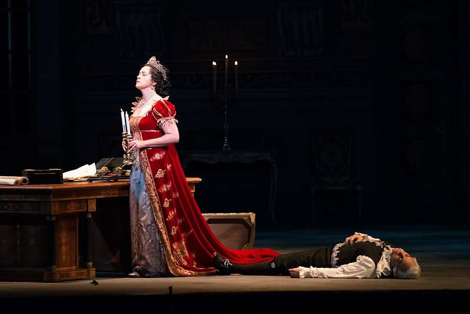 "Melody Moore, singing the ""Tosca"" title role for the first time after soprano Angela Gheorghiu fell ill, brought clarity and power to more intimate passages. Photo: Kristen Loken"