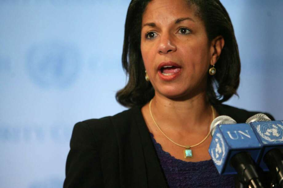 U.S. ambassador to the United Nations Susan Rice speaks to reporters after a Security Council consultation on the situation in Iran, Tuesday, May 18, 2010 at United Nations headquarters.  (AP Photo/Mary Altaffer) Photo: Mary Altaffer / AP
