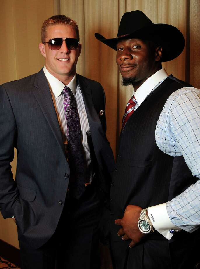 "J.J. Watt and Antonio Smith were among the good-looking gentlemen who walked the runway at the ""Una Notte in Italia"" event at the Omni Hotel on Nov. 2.  Photo: Dave Rossman, For The Houston Chronicle / © 2012 Dave Rossman"
