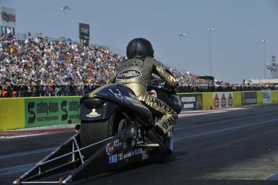 Michael Ray of New Braunfels attempts to launch his Viper Motorcycle Company Buell off the starting line during an NHRA Pro Stock Motorcycle race at the Texas Motorplex in Ennis, Texas. (NHRA)