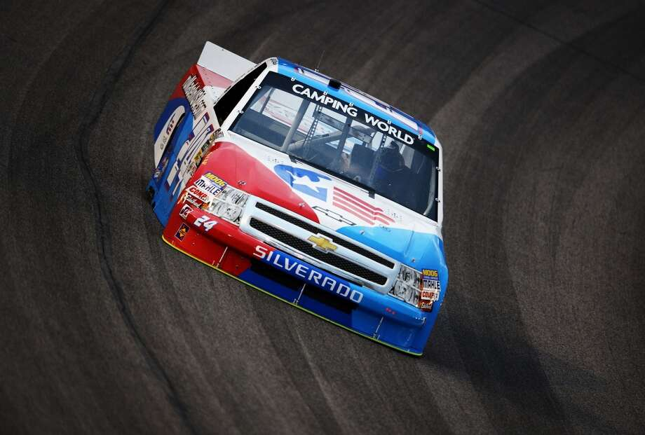 Max Gresham, driver of the #24 Made in USA Brand Chevrolet, practices for the NASCAR Camping World Series WinStar World Casino 400 at Texas Motor Speedway on June 7, 2012 in Fort Worth, Texas.  (Getty Images for Texas Motor Speedway)