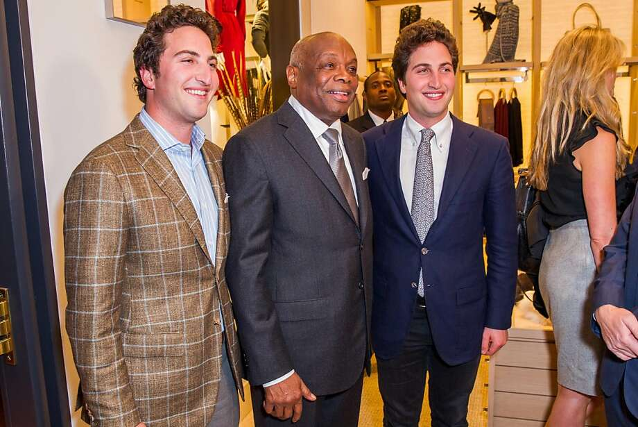 Those darn Goldman twins are impossible to tell apart. Hint: Matthew Goldman at left, usually has longer hair than his brother, Jason. Nobody forgets the guy in the middle: former Mayor Willie Brown. Photo: Drew Altizer Photography, Laura Morton For Drew Altizer Ph