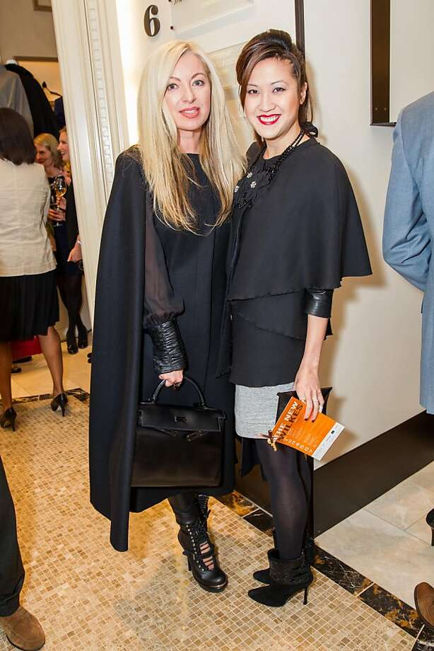 Shh, Sonya! Don't talk about your cape from Neiman Marcus, at the re-opening of the Wilkes Bashford store. From left to right: Sonya Molodetskaya and Jessica Han. Photo: Drew Altizer Photography