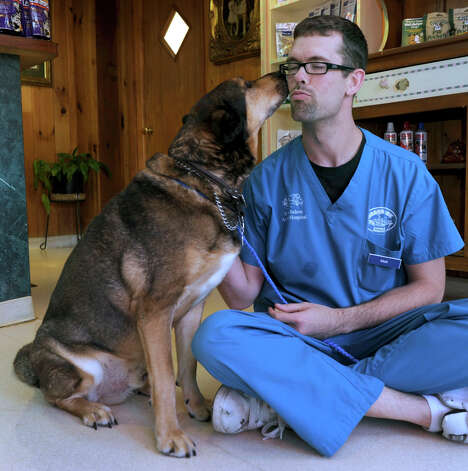 Matt Mommens, 31, a kennel worker at Noah's Ark Animal Hospital in Danbury, plays with Buddy, a German shepherd mix, who is up for adoption, Friday, November 16, 2012. Photo: Carol Kaliff / The News-Times