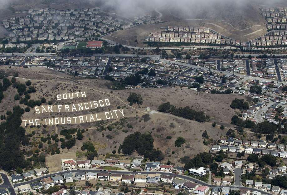 The iconic sign is seen from above in South San Francisco, Calif. on Friday, Sept. 28, 2012. Photo: Paul Chinn, The Chronicle